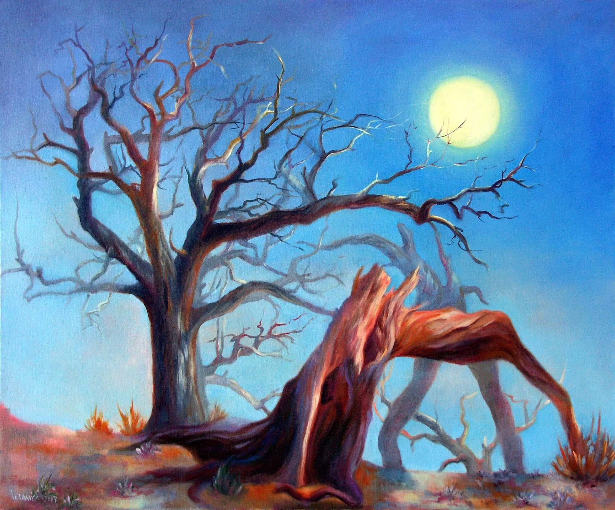surrealist tree with the moon 16x20 glossy metallic print