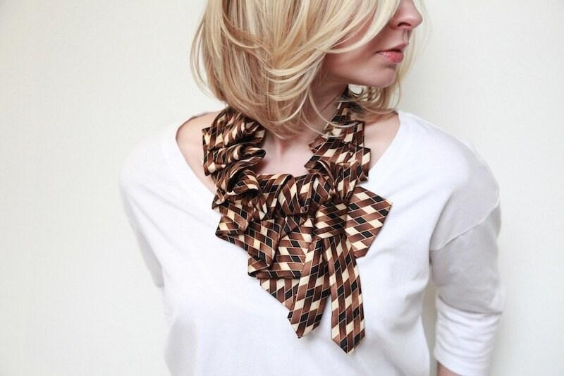 Brown Check Print Necktie Katherine Scarf