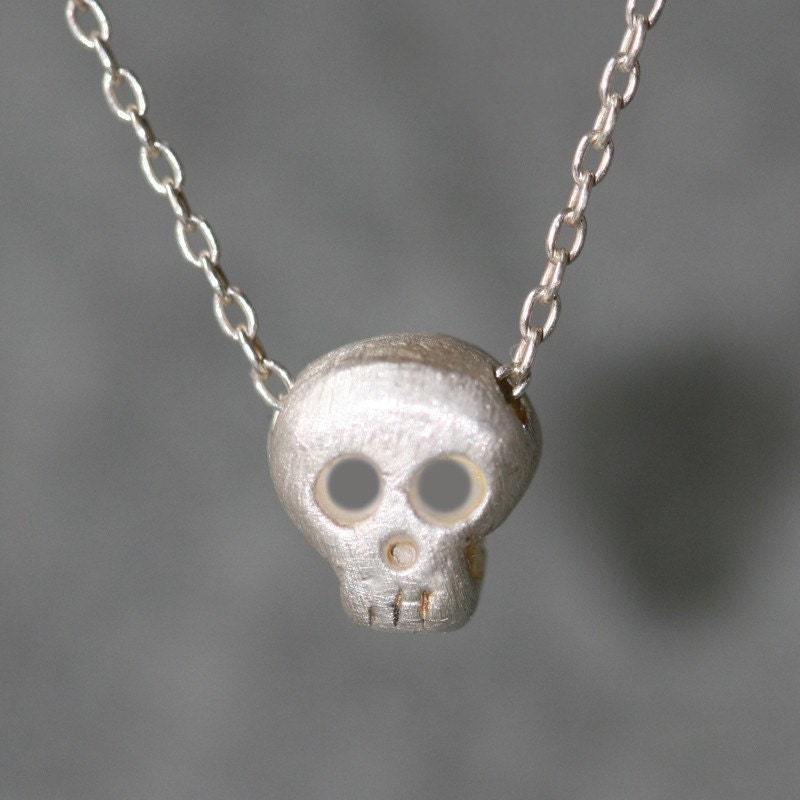 Baby Skull Necklace in Silver