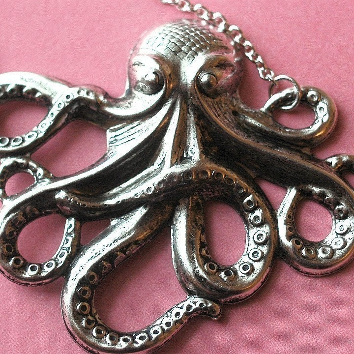 Handmade Jewelry on Etsy - BACK IN STOCK Sea Legs - Silver plated brass octopus necklace by bombalurina from etsy.com