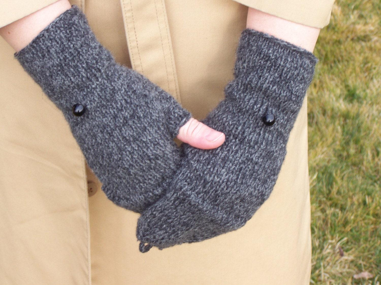 Knitting Pattern For Fingerless Gloves With Flap : Fingerless Flap Glove Knitting PDF PATTERN by PepperberryKnits