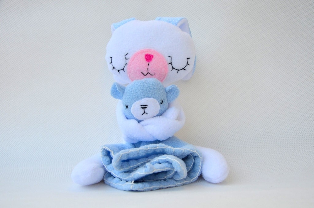 Stuffed Animal  White Bunny with blanket white and blue - baraqada