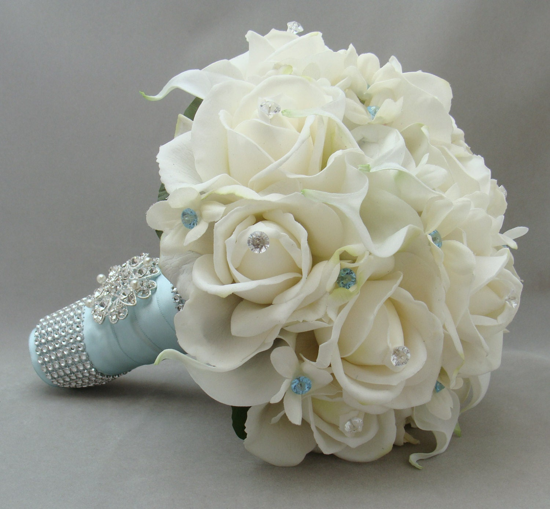Custom wedding accessories blue wedding flower bridal bouquet blue wedding flower bridal bouquet stephanotis real touch roses calla lilies grooms boutonniere real touch custom wedding bouquet izmirmasajfo