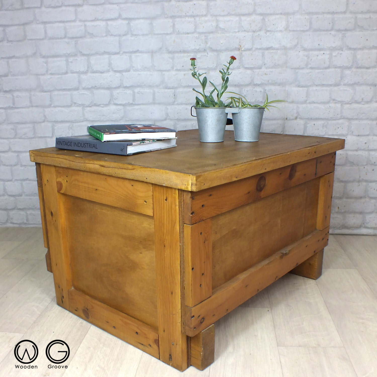 vintage industrial salvage reclaimed timber storage crate coffee table