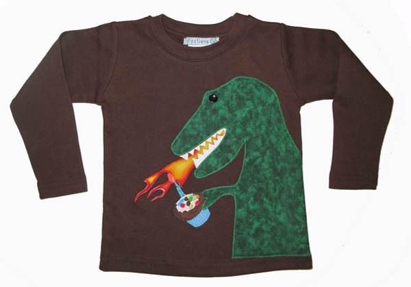 BIRTHDAY DINOSAUR DRAGON with FLAMING CUPCAKE Applique Shirt 6m 9m 12m 18m 2t 3t 4t 5 6 6x 7 8