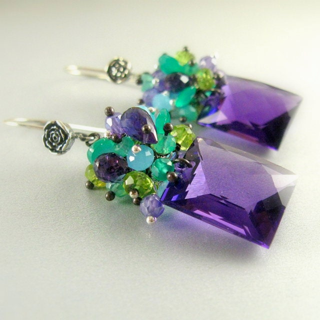 Colorful Amethyst, Onyx, Peridot and Chalcedony Gemstone Lux Earrings - SurfAndSand