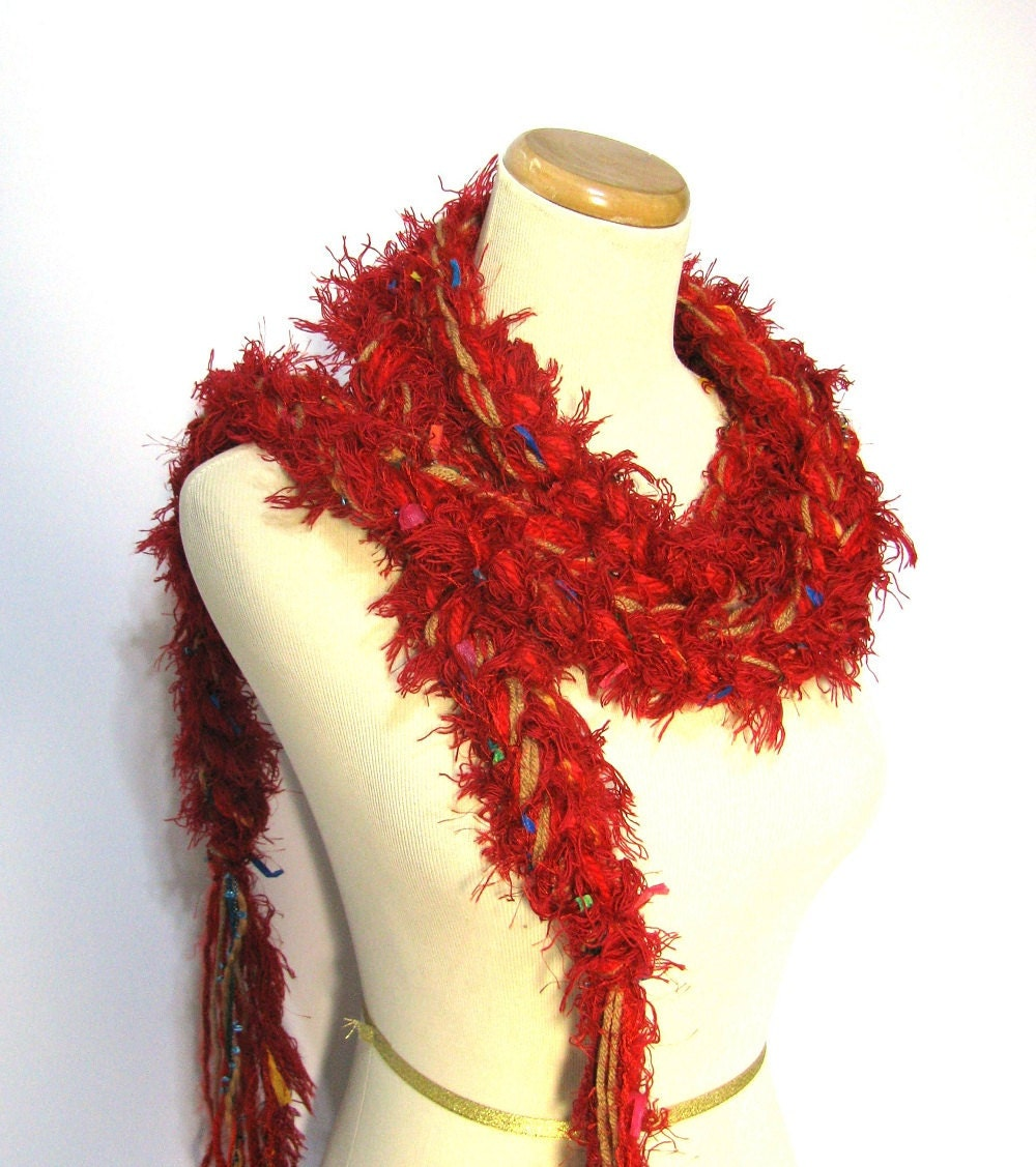 Red Crochet Chain Scarf - ArlenesBoutique