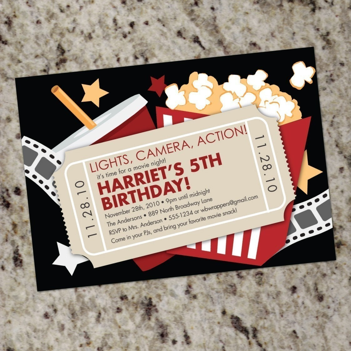 MOVIE NIGHT Custom Party Invitations Print Your by Whirlibird