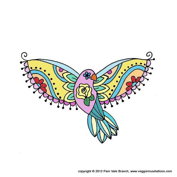 Items Similar To 0020 Sugar Skull Bird Tattoo Design On Etsy