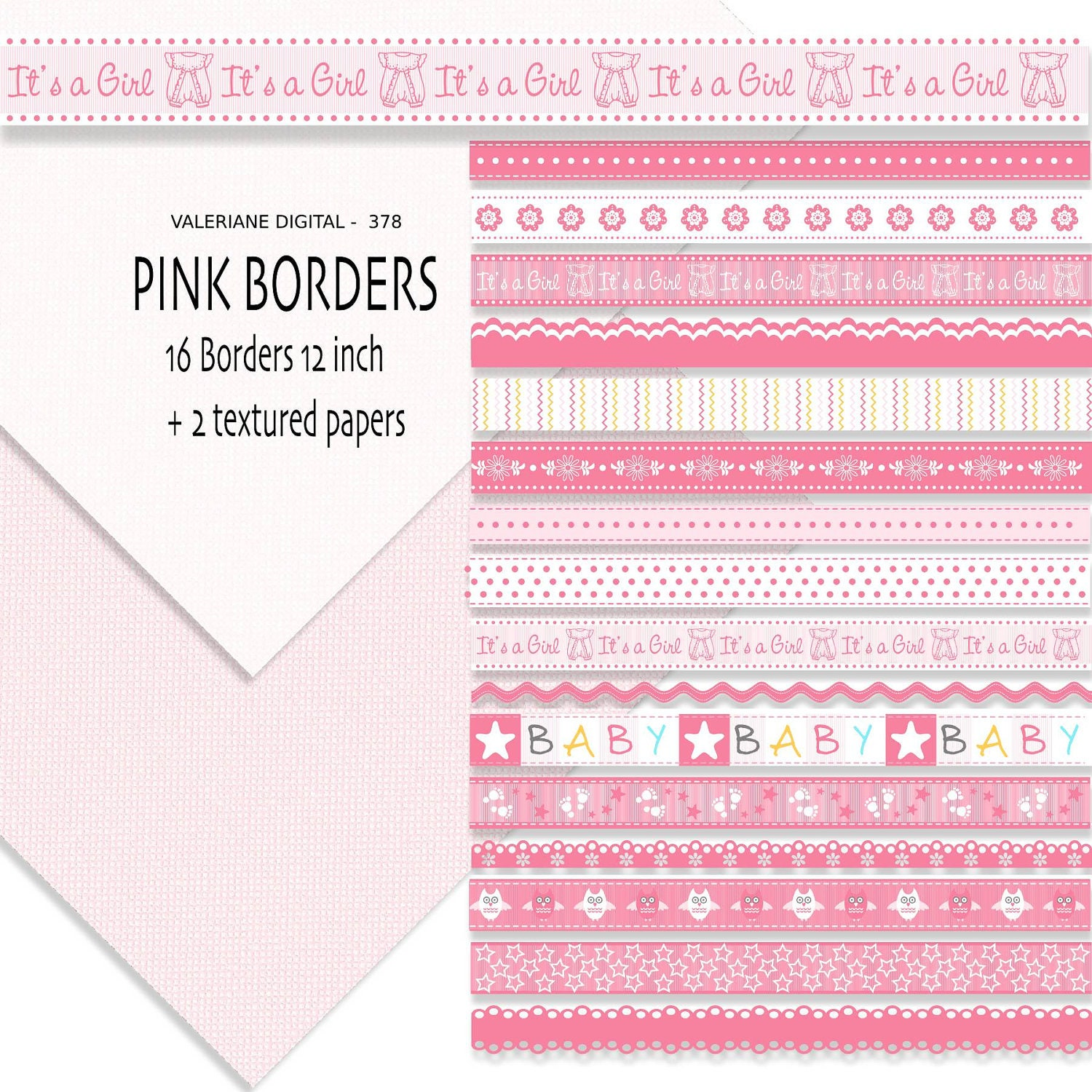 Baby pink ribbon border