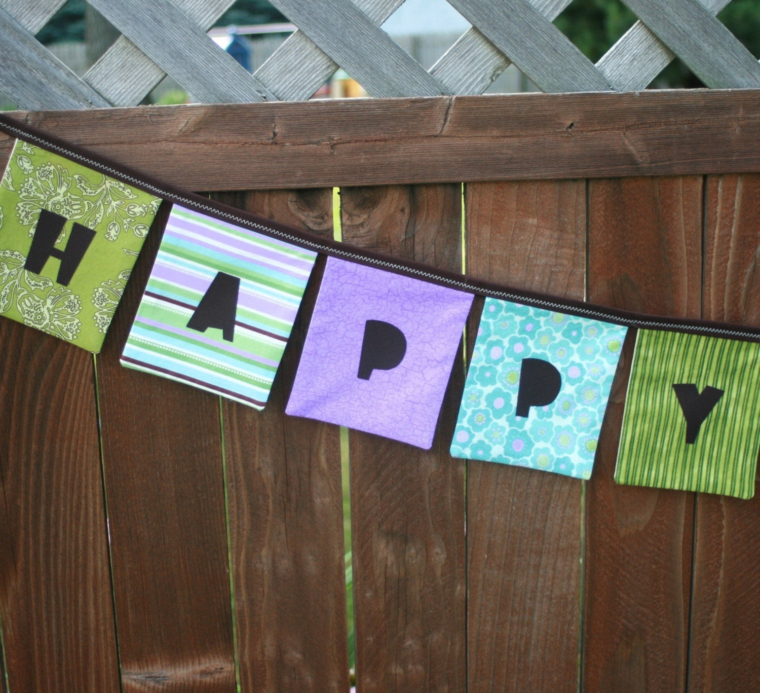 HAPPY BIRTHDAY Reusable Fabric Banner - Purples, Greens, Blues - ThePolkaDotTotSpot