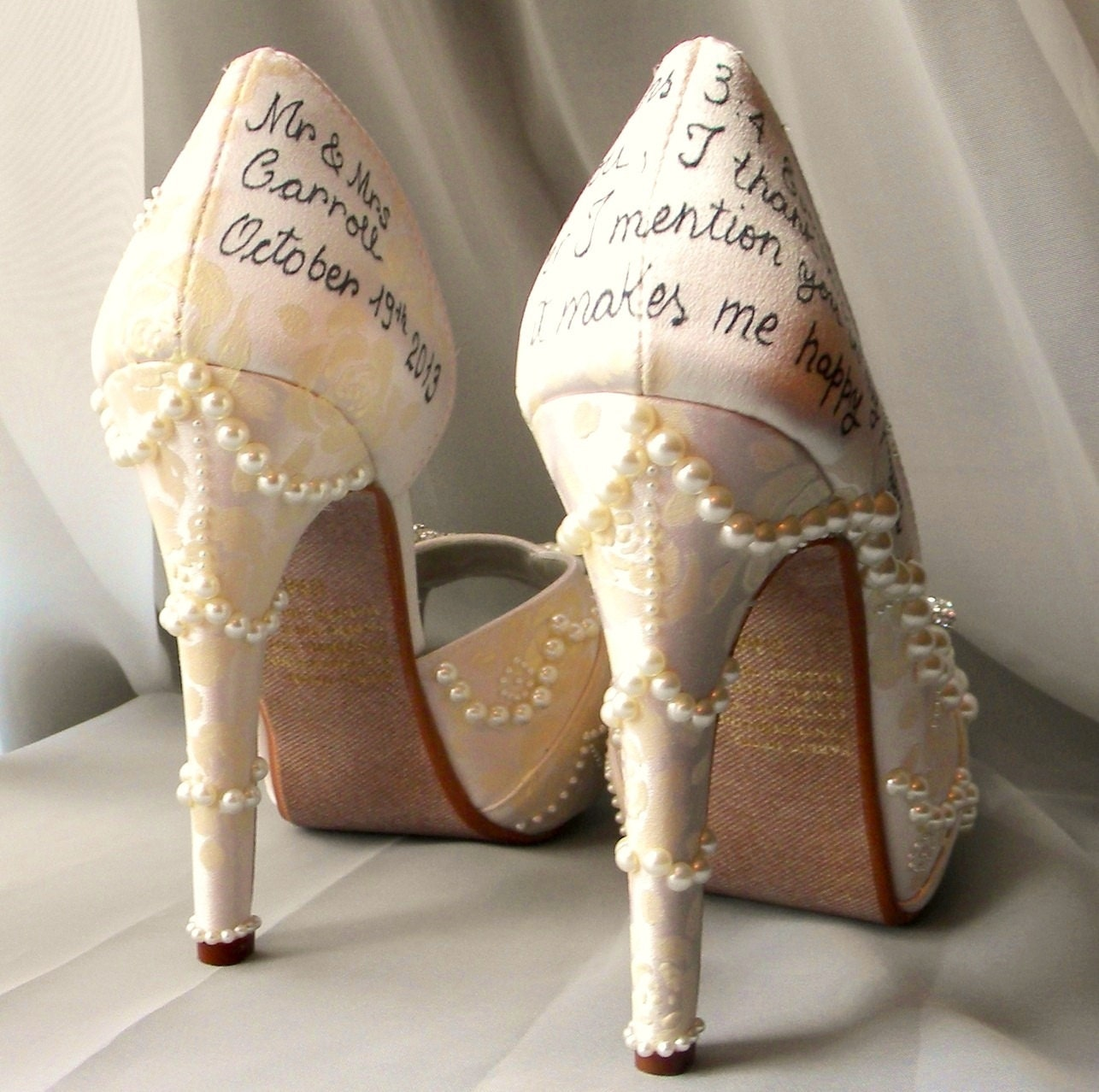 Wedding shoes roses lace pearl ivory personalized by norakaren