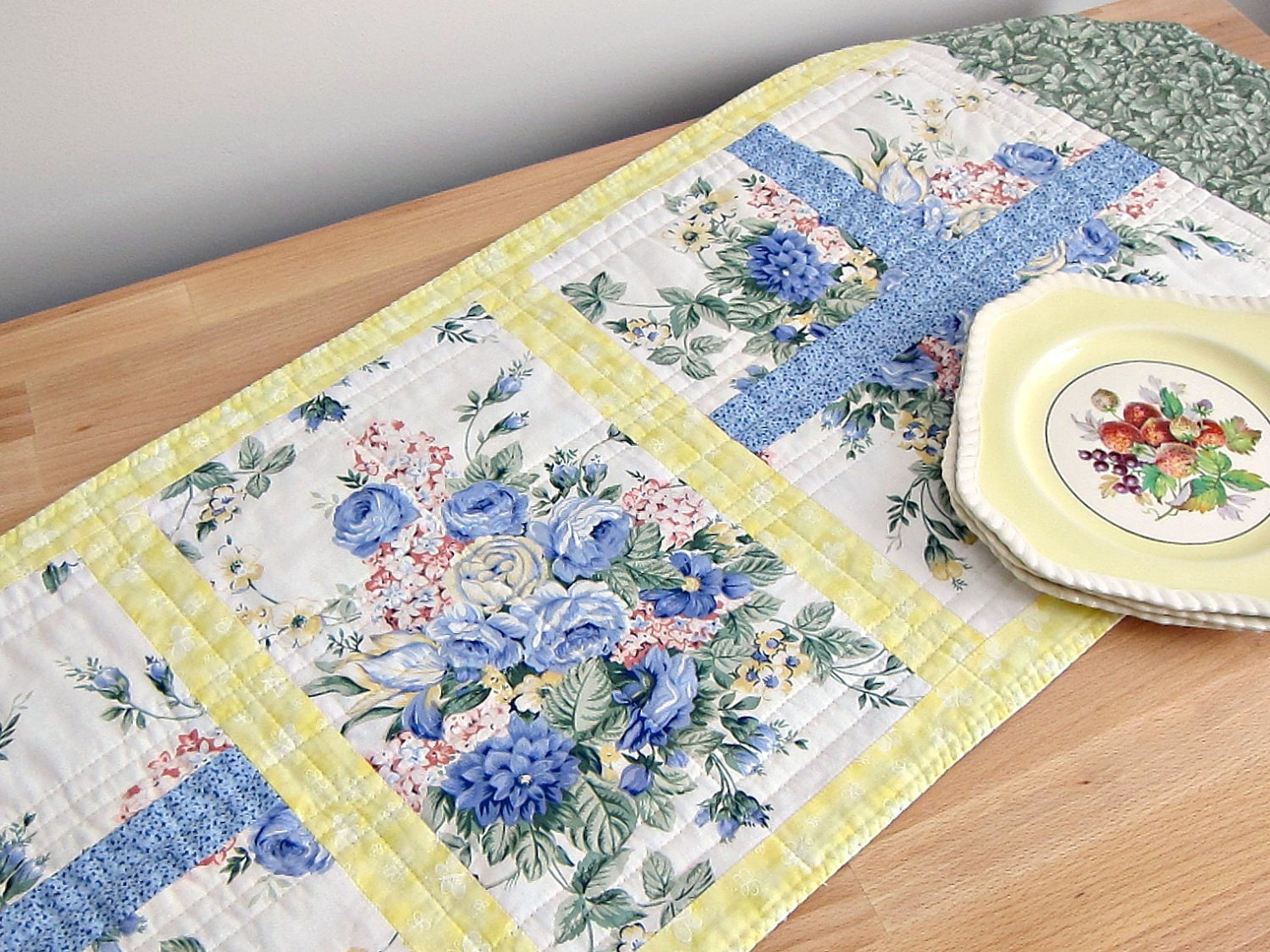 Quilted Table Runner Blue Yellow Shabby Chic