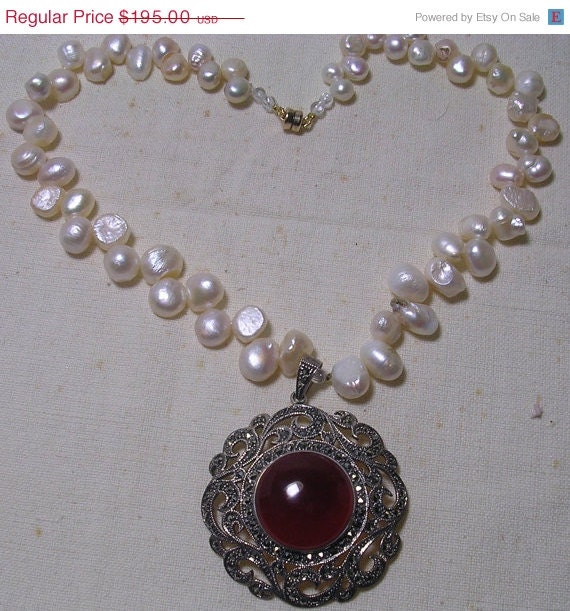 ON SALE Carnelian Marcasite Sterling Pendant  & Freshwater White Pearl Necklace - BEADEDNECKLACESHOPPE
