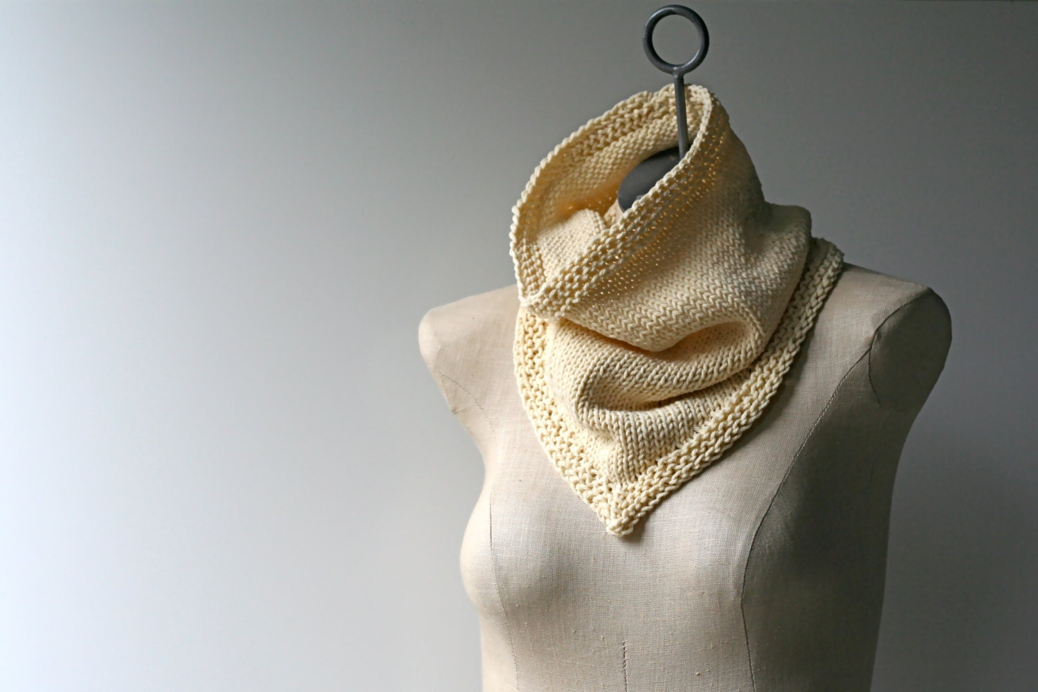 Made to Order: Hand Knitted Bandana Cowl Infinity Scarf in Cream Cotton Blend Yarn - AmyLaRoux