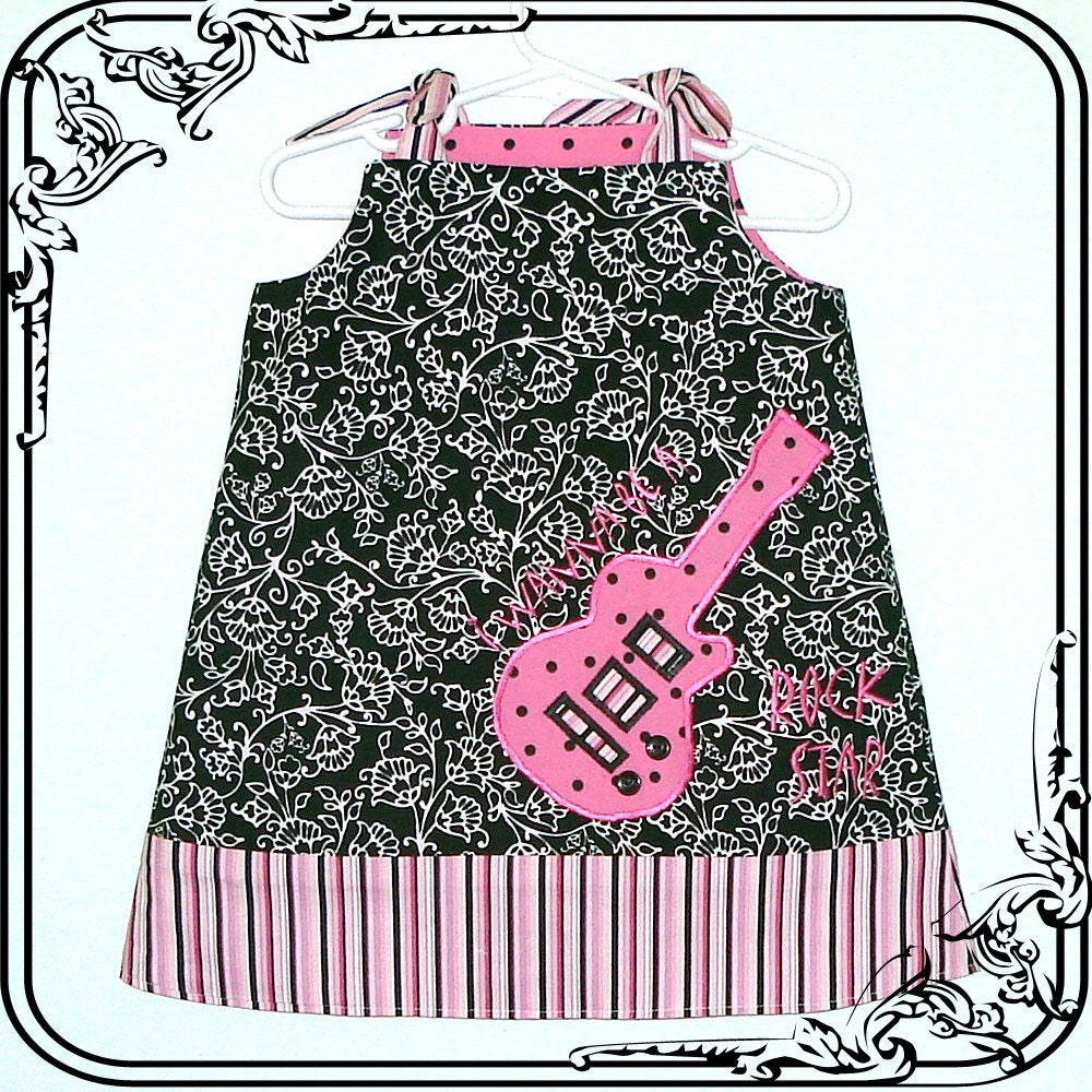 Rock Star Guitar Dress Jumper Top - Sizes 3M-4T-Black, white, bright pink fabrics