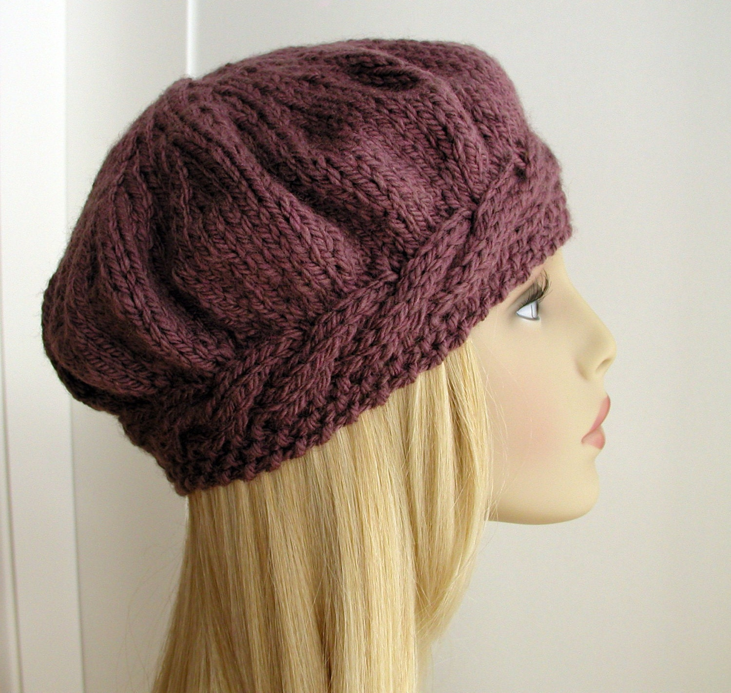 Knitting Pattern Hat Beret : Beret Tam Purple Plum Cable Hat Knitted by handknittedthings