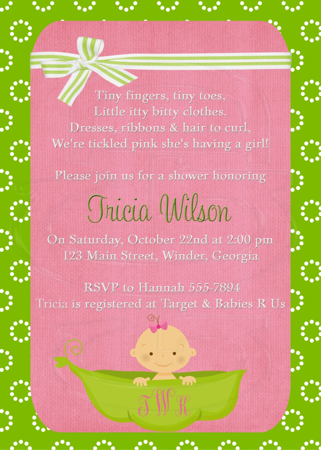 baby shower invitation or baby sprinkle for 2nd or 3rd child pea in