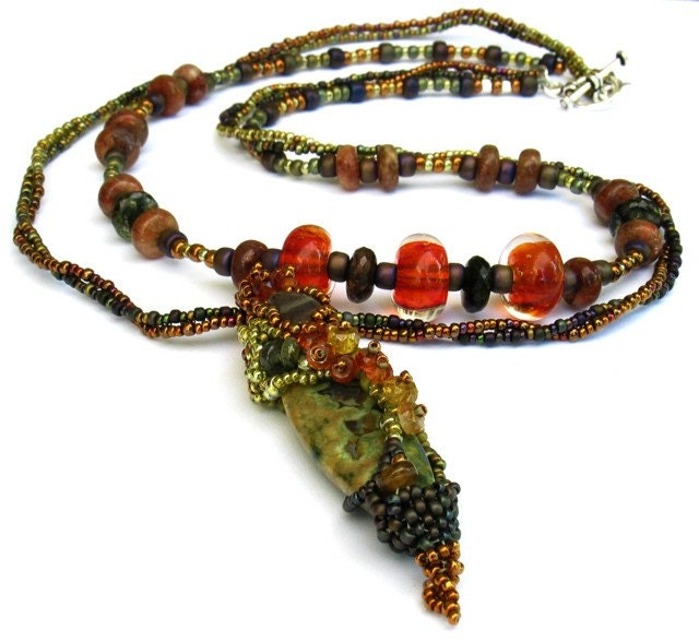 Fairy Chrysalis Beaded Necklace -- Rainforest