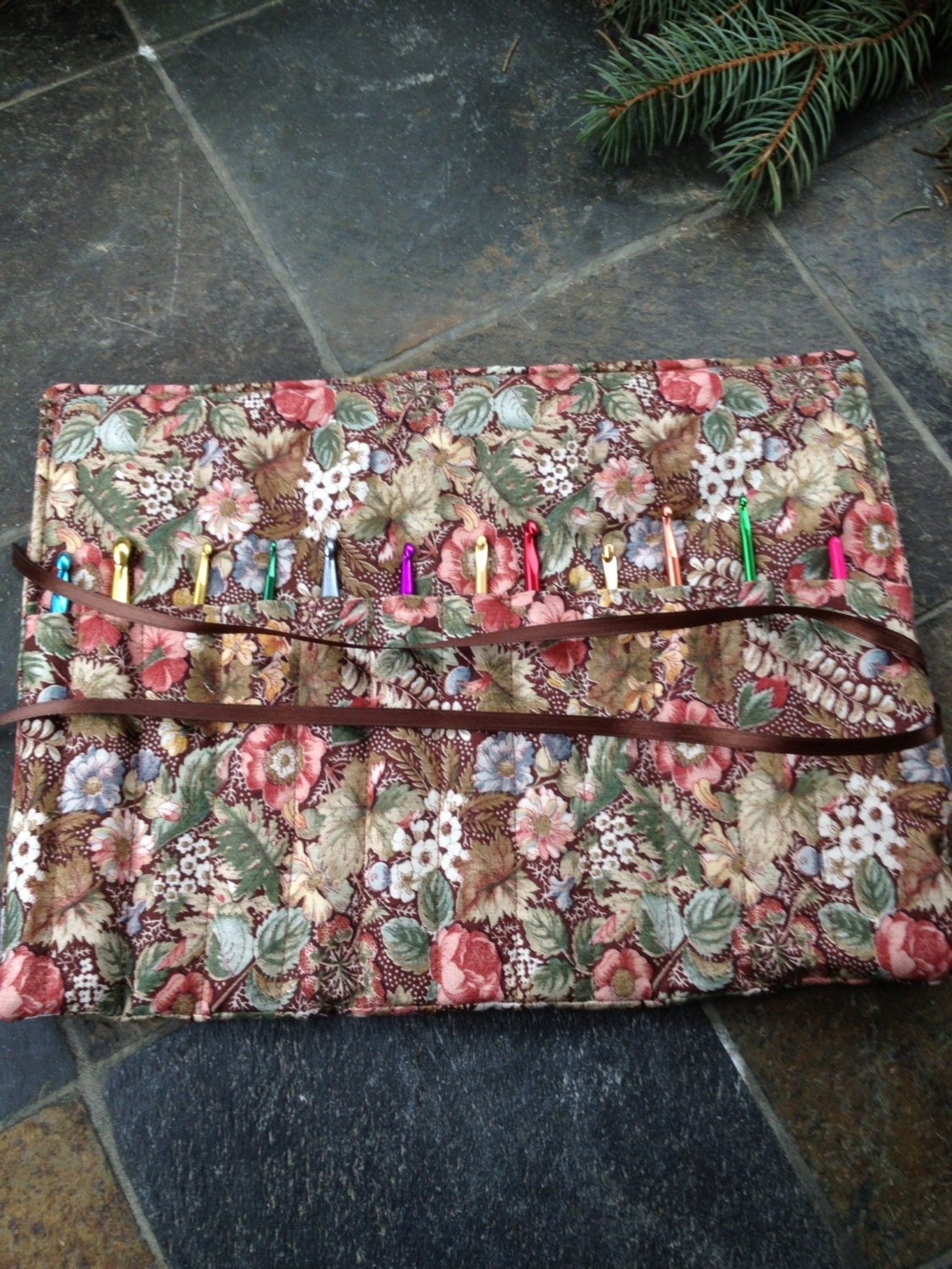 Crochet Hook Organizer/ Holder - Holds 12 Needles - Brown Floral