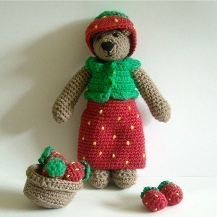PDF Crochet Pattern - Strawberry Fancy Dress to Tilda Bear and Wilma Doll