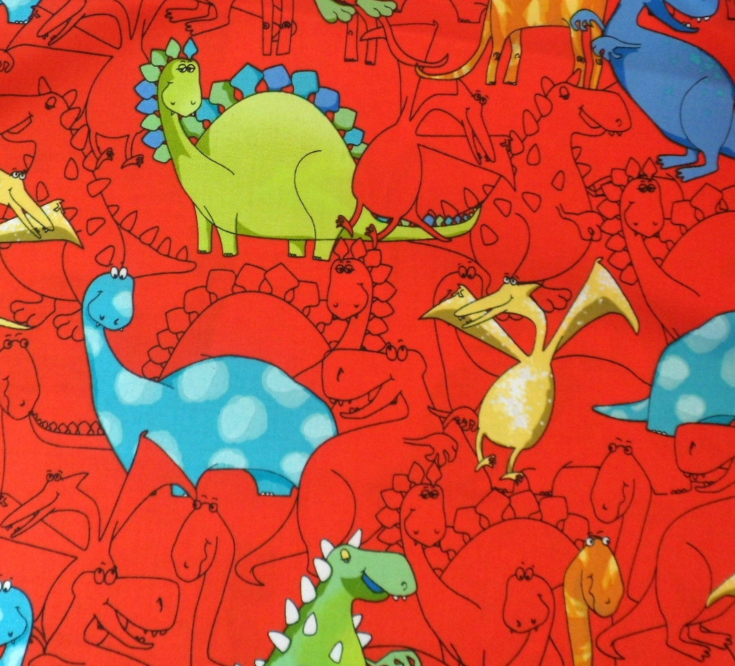 Dinosaur fabric red background timeless treasures by quiltwear for Dinosaur fabric