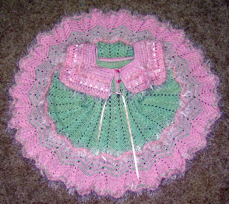 Little Girl's Beautiful Hand Crocheted Dress In Mint Green and Pink, Photo Shoot