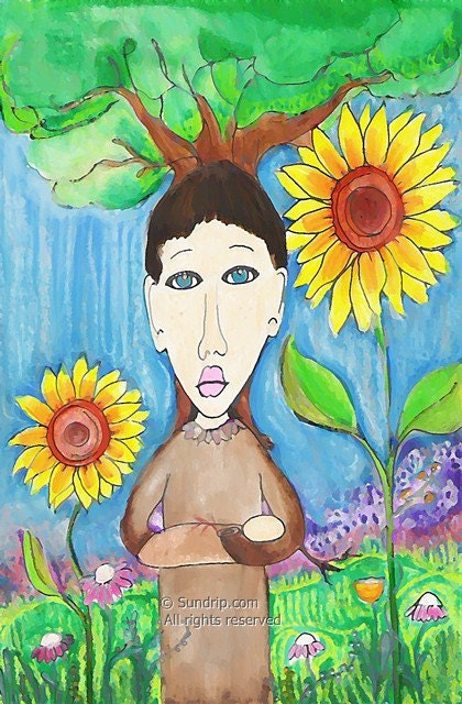 Spring of Youth original watercolor mixed media 6x9