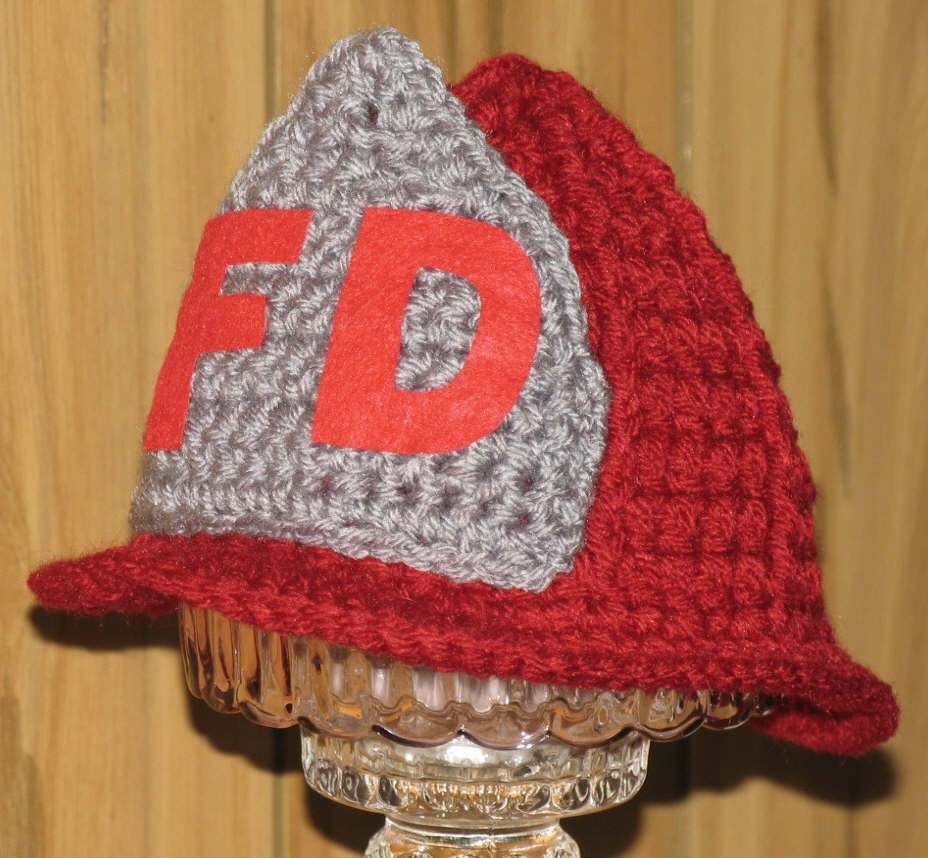Crochet Pattern For Baby Fireman Hat : Newborn / Crocheted Fireman Hat / Great Photo Prop by ...