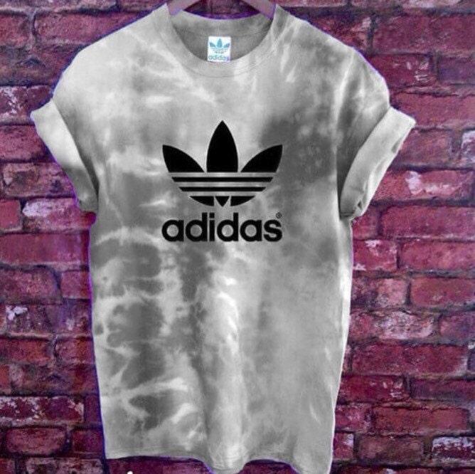 Unisex Authentic Adidas Originals Tie Dye cloud grey Tie Dye Tshirt XSXXL