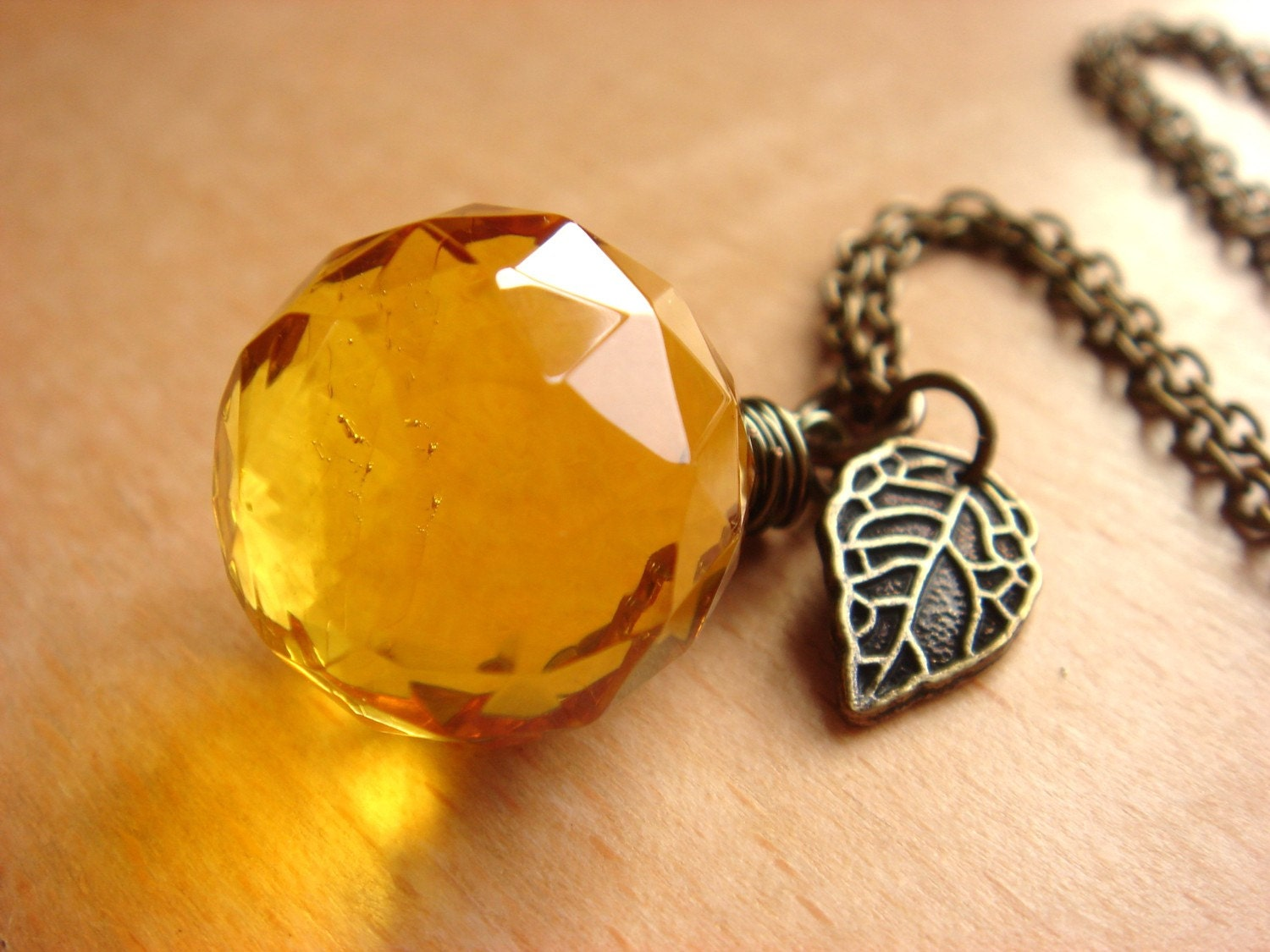 Honey Dewdrop - Yellow Quartz Necklace