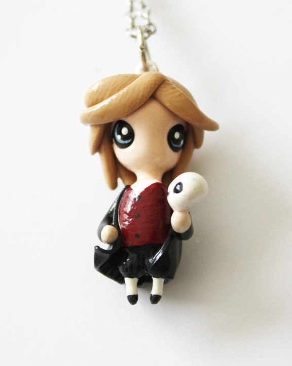 FREE SHIPPING - Hamlet - Miniature Sculpture - Charm Necklace