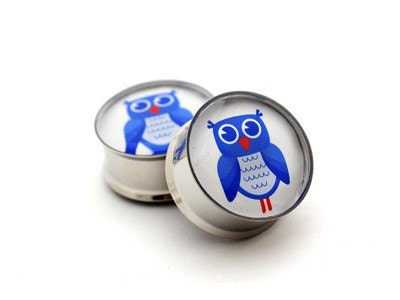 Owl Picture Plugs gauges - 00g, 1/2, 9/16, 5/8, 3/4, 7/8, 1 inch