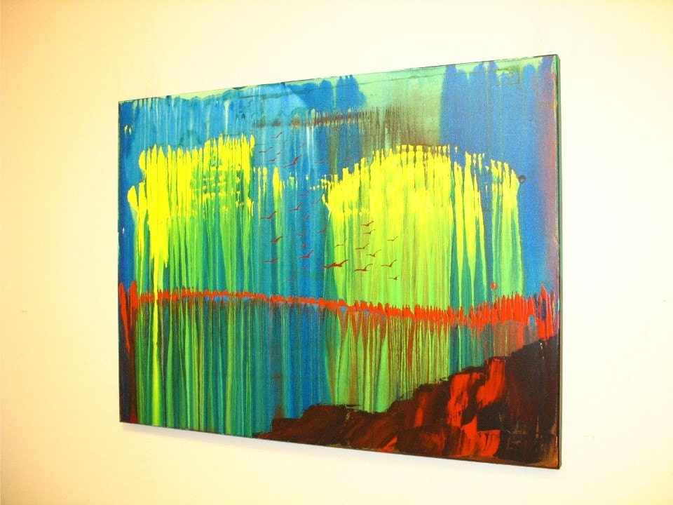 Original Painting Acrylic Landscape Abstract Art by by AisyahAng
