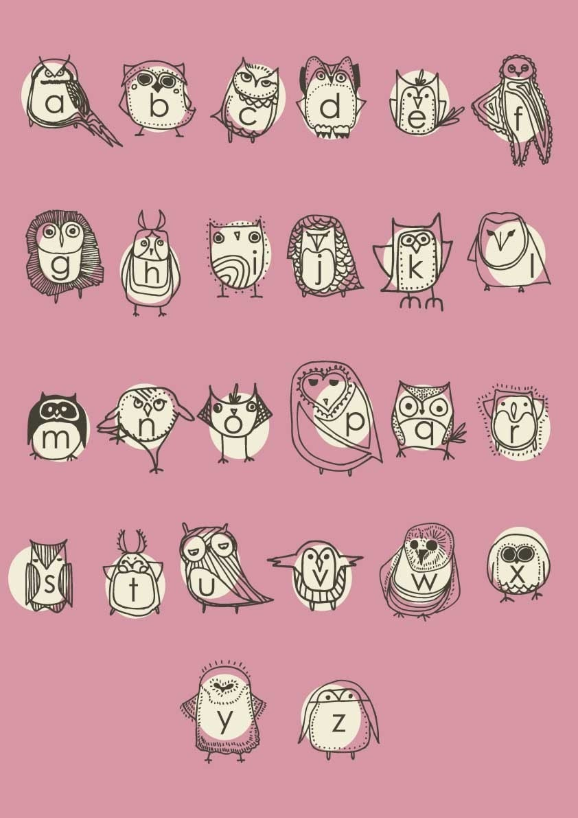 Large Owlphabet Poster, Alphabet, Nursery Art, Owl Nursery Art, Pink Poster by Gingiber on Etsy