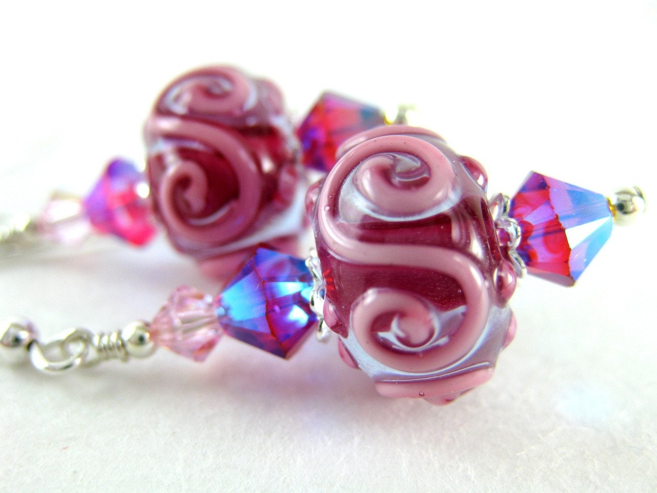 Cerise Pink Lampwork Indian Red Crystal Earrings Handmade - Pomegranates