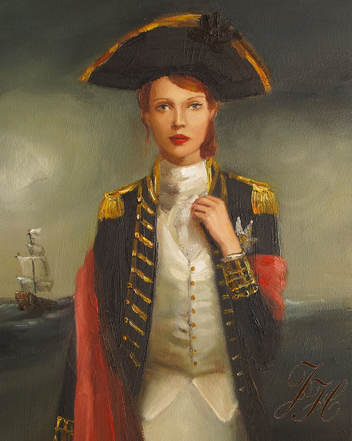 Portrait- Her Face Launched A Thousand Ships- Art Print - janethillstudio