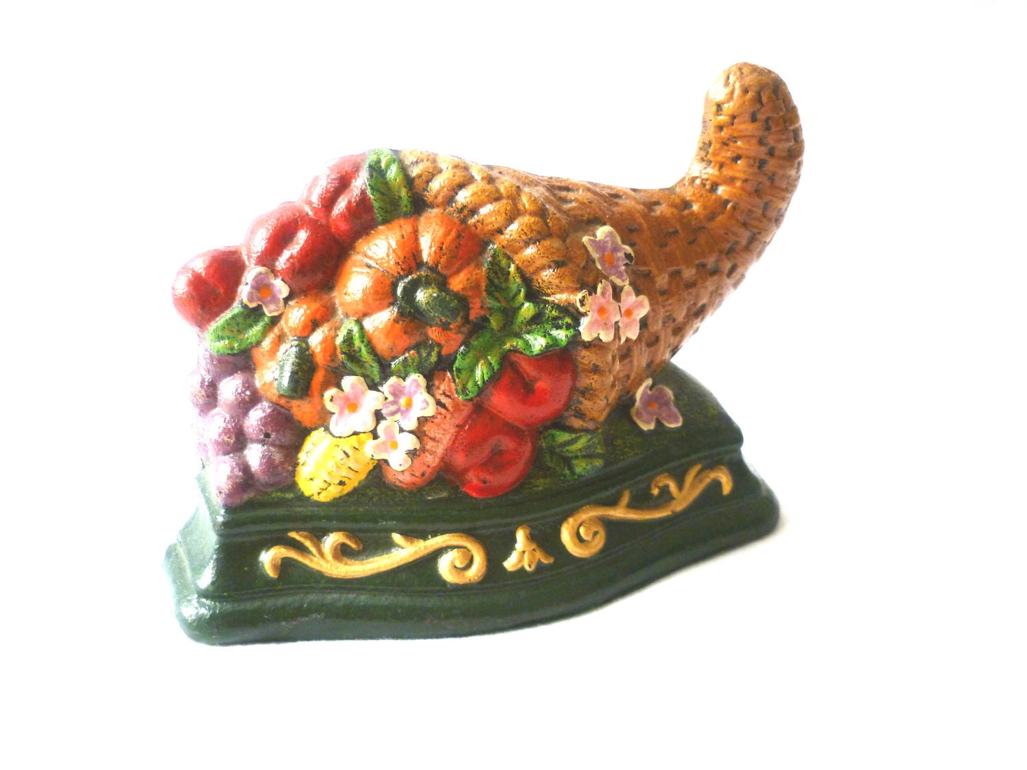 VINTAGE Cast Iron Door Stop Cornucopia Filled with Fruts and vegetables - BrandiCholina