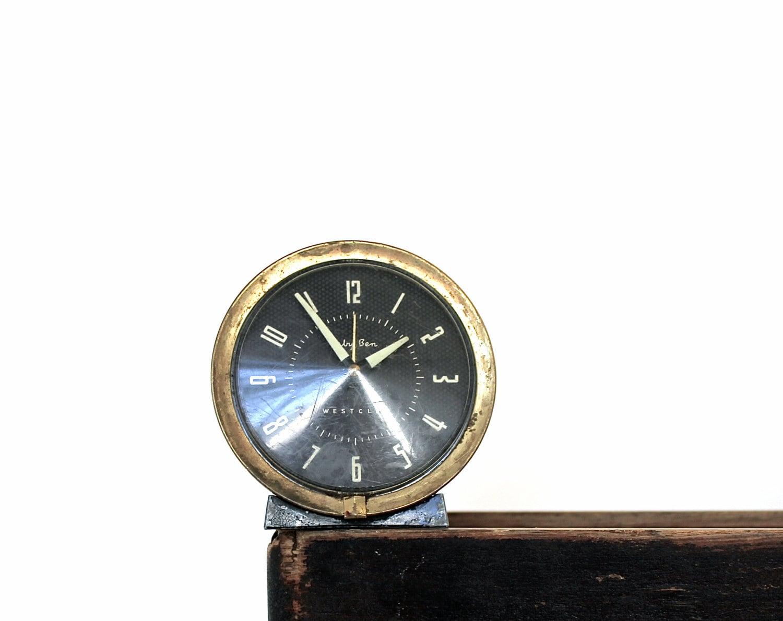 The Time Has Come - Vintage Baby Ben Westclox Wind Up Alarm Clock - Home Decor - Mid Century - Black - Geometric - Modern - Brass - becaruns
