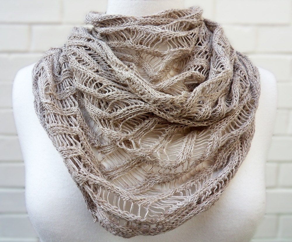 Linen Knitted Lace Spring Scarf