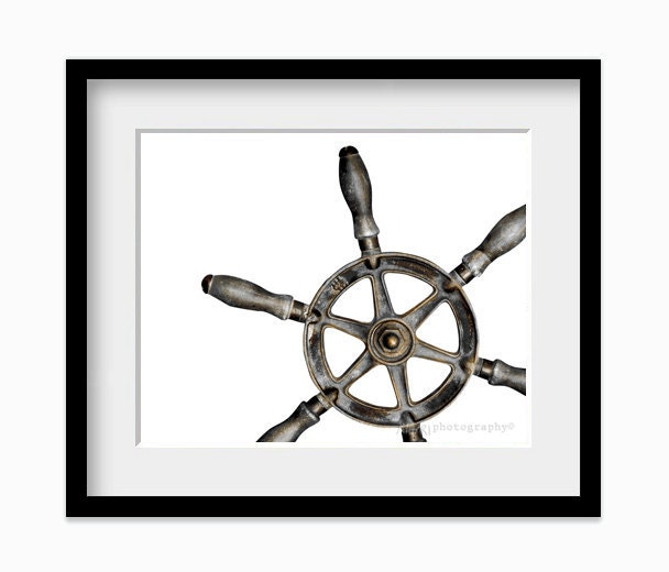 Ship Wheel Wall Art Print Nautical Decor For Dudes by AldariArt