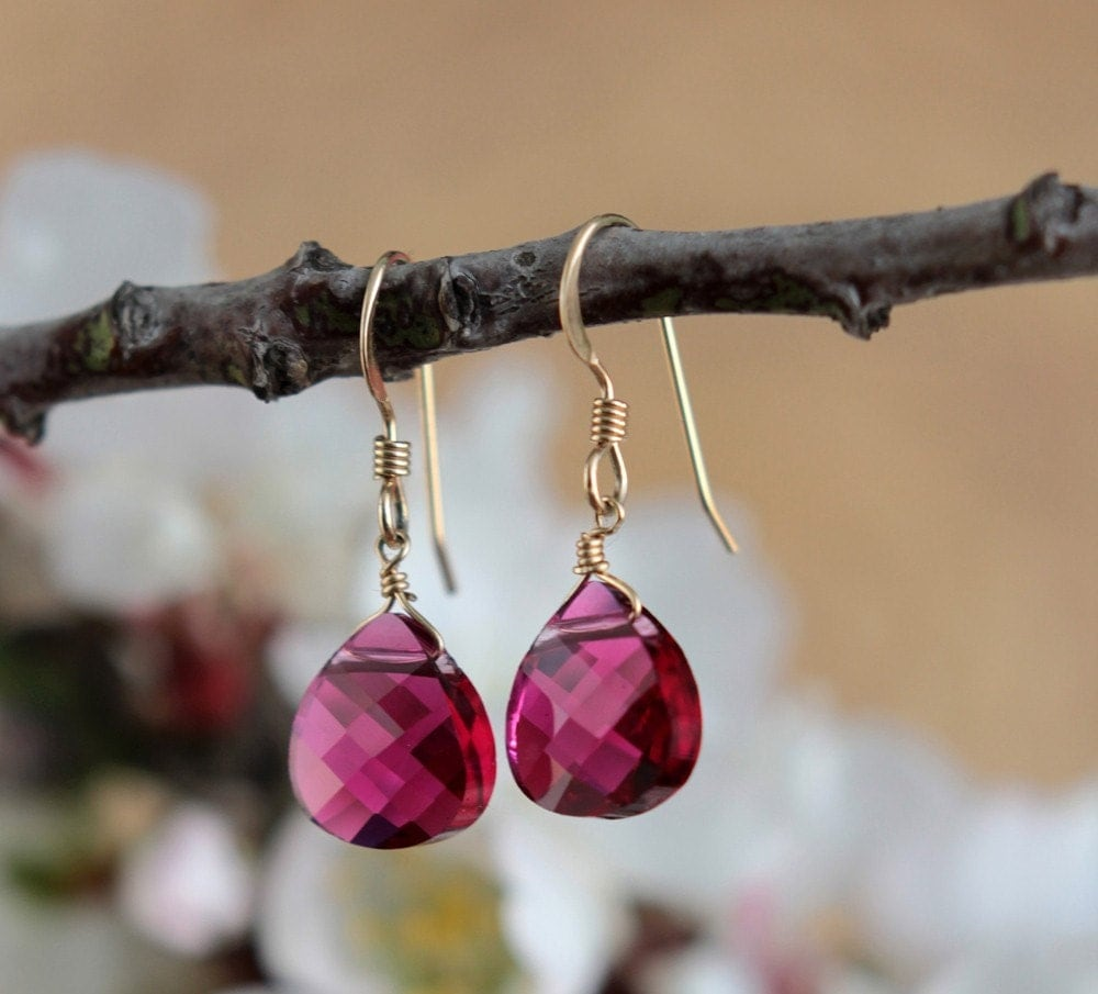 Gold filled Earrings with Ruby Pink Drop Shaped Swarovski crystal