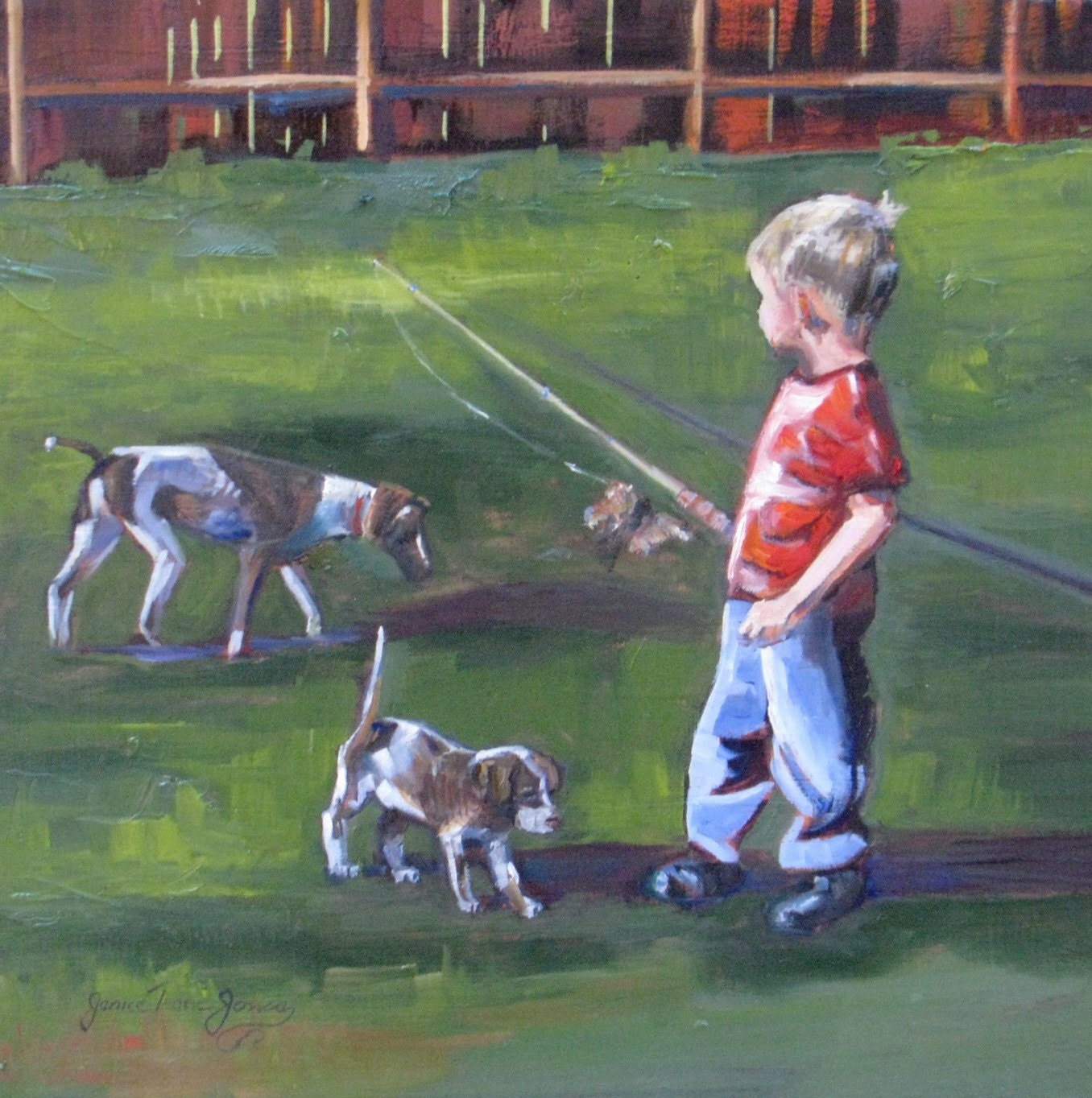 Training the pup to hunt  Original oil  12 x 12 50 PERCENT OFF  HOLIDAY SALE