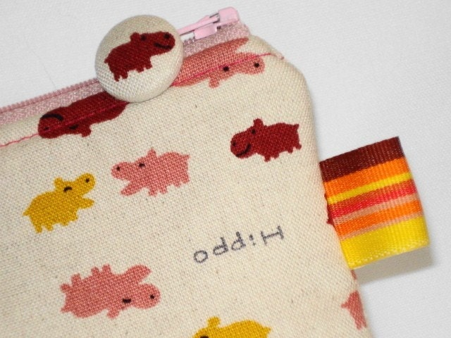 Kawaii Hippo Pouch with Matching Zipper Pull  Pink and by WolfBait