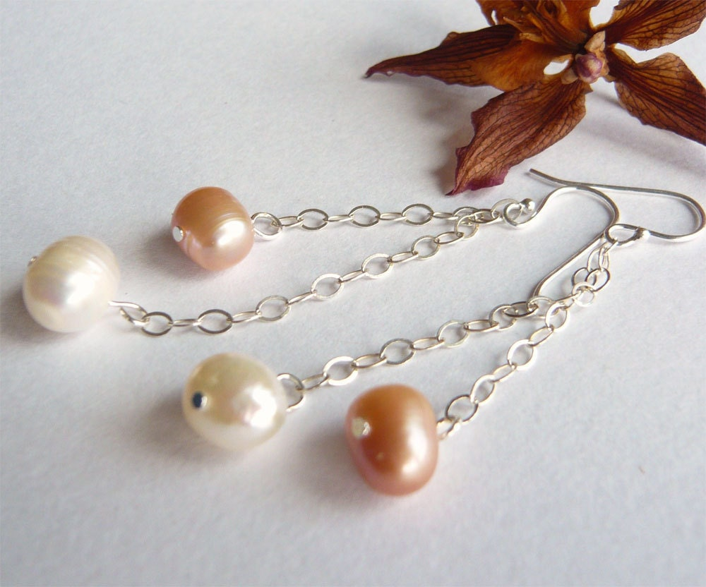 Pink and Ivory Pearl Earrings - Sterling - Freshwater Pearls - Pink and White - Pearl Jewelry - 3pearls