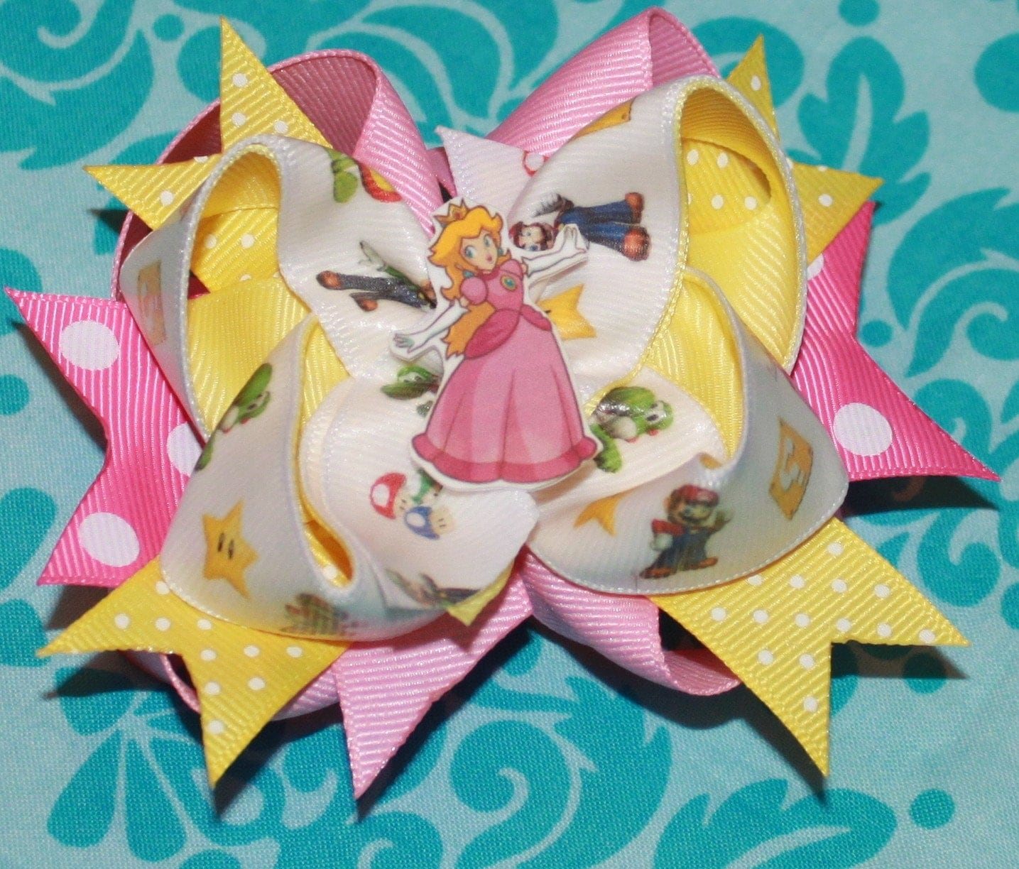 Sweet and Sassy Stacked/Layered Hairbow--Princess Peach--Super Mario Brothers