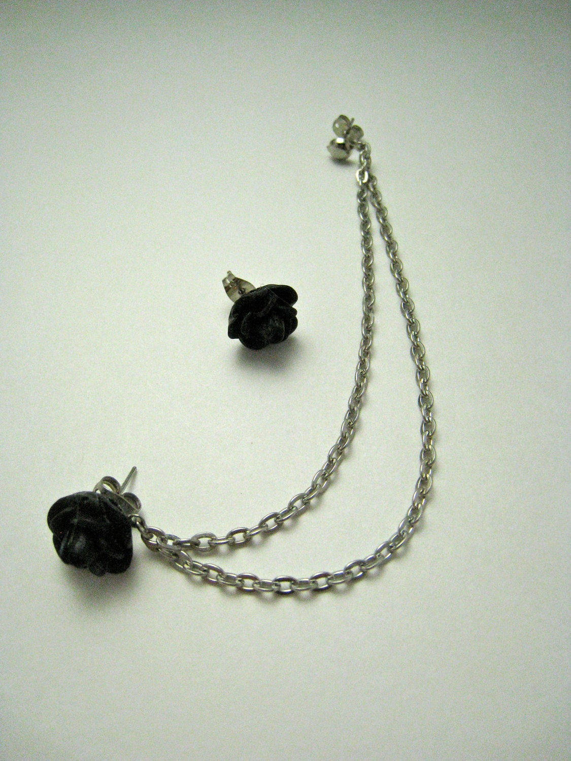 items similar to black flower silver cartilage earring on etsy