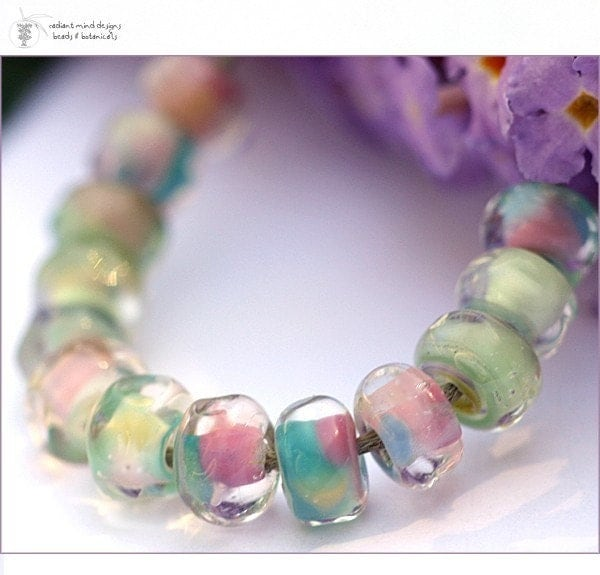 Lampwork Beads PRINCESS AND THE PEA organic faceted SEEDS Handmade Glass Goodness for your Inspired Designs