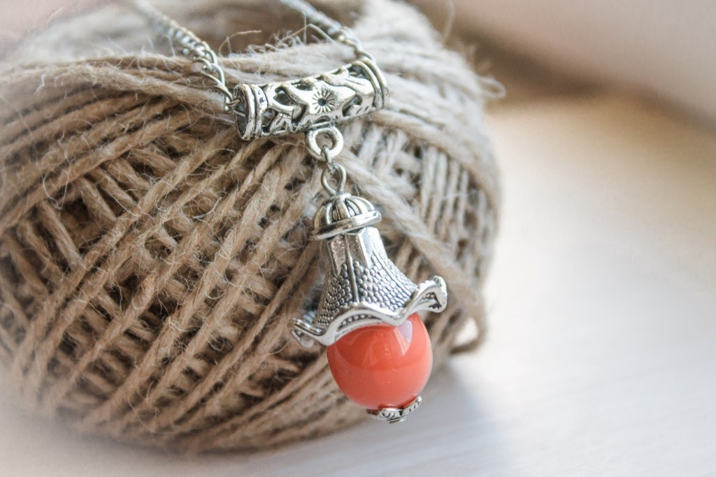 orange Necklace made of glass on silverplated chain. Complemented by silverplated spacers. bell. - BubiShop