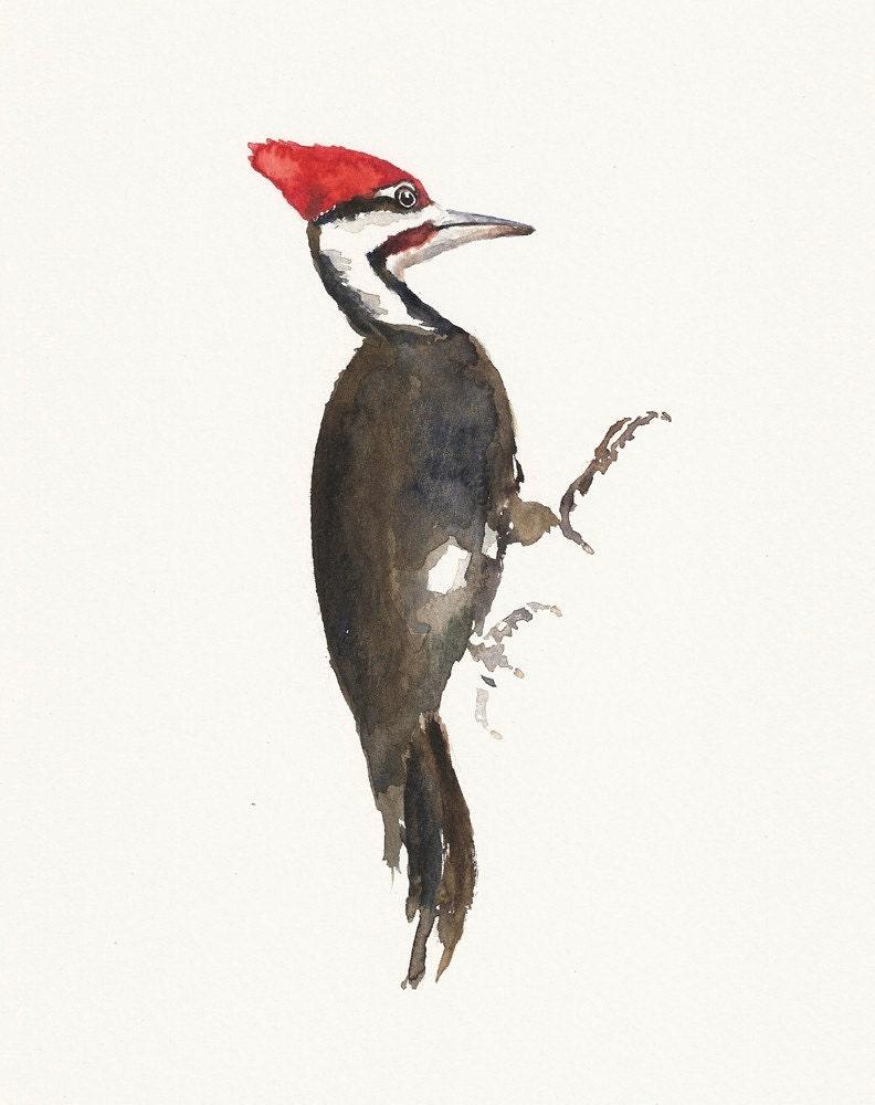 WOODPACKER Original watercolor painting 8x10inch